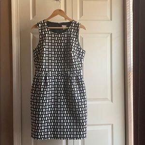 J. Crew Factory Sheath  Dress Black White Jacquard